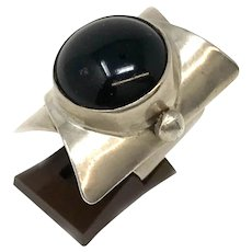 Modernist Sterling Silver Ring with Onyx Stone