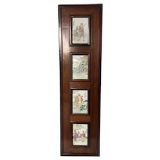 Hardwood Panel with 4 Porcelain Plaques