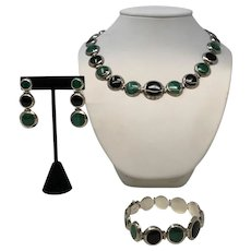 Silver 960 Malachite Onyx Set
