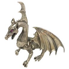 Silver 800 Red Eyed Dragon Sculpture