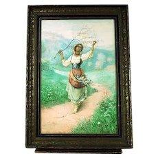 Italian Carlo Ferranti 1840-1908 Girl with Flower Basket European Painting