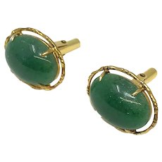 14k Yellow Gold and Green Spinach Jade Cufflinks