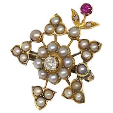 Antique 14k Yellow Gold Pearl Pin