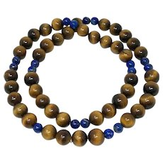Tiger's Eye Blue Sodalite Beaded Necklace