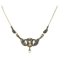 Antique Victorian 14k Gold Pearl Necklace