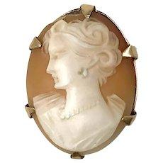 Birmingham 9k Gold Victorian Cameo Brooch