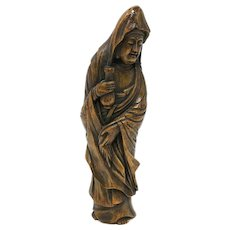 Antique Chinese Bamboo Guanyin Carving