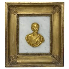 Antique Gilt Bronze Bust Portrait of Caesar