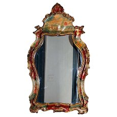 Italian Rococo Style Carved Wood Hand Painted Mirror