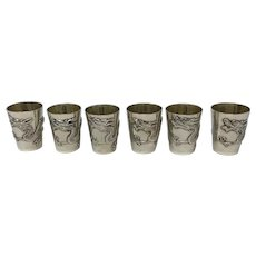 Antique Chinese Silver Export Set of Shot Glasses