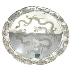 Antique Chinese Export 900 Silver Large Tray