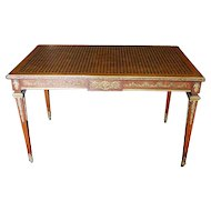 Francois Linke 1855-1946 Gilt Bronze Mounted Kingwood and Satin Parquetry Small Desk