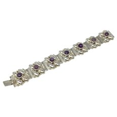 Vintage Mexican Silver Amethyst Stone Bracelet