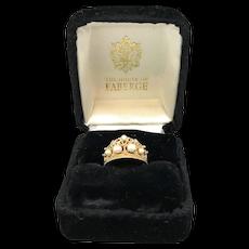 Stuart Devlin 14k Diamond & Pearl Tiara Ring
