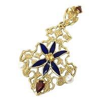 Franklin Mint 14k Enamel Pearls Garnet Pendant