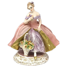 Guido Cacciapuoti Lady with Flower Basket Figurine