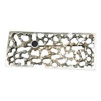 Brutalist Sterling Silver Black Stone Brooch