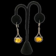 925 Silver & Amber Earrings