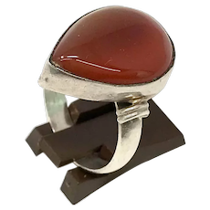 925 Silver Carnelian Stone Ladies Ring size 10
