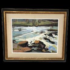 Canadian Armand Tatossian Painting Winter Landscape