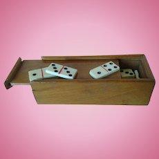 Antique Miniature Boxed Set of Dominoes