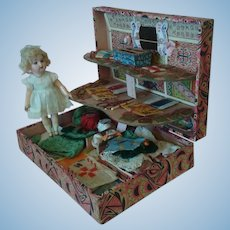 French Sewing Presentation Box with Doll