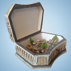 Antique French Silk Box with Wax Flower Bouquet/Corsage