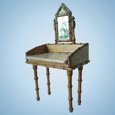 Antique French Faux Bamboo Vanity/Dressing Table for Fashion Doll
