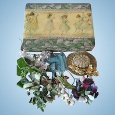 Victorian Celluloid Box & Millinery Flowers