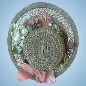 1880's Straw Doll Hat with Velvet & Silk Flowers
