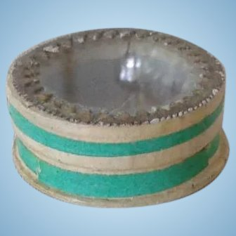 French Antique Glass Lid Box in Huret Green