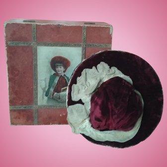 Antique Velvet Hat in Wooden Box
