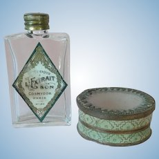 Antique French Glass Lid Box and Tiny Perfume Bottle