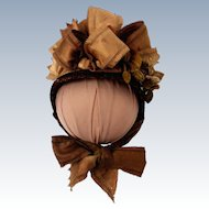 Antique Straw and Silk Doll Bonnet
