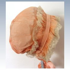 Vintage Peachy Pleated All Silk Bonnet from France