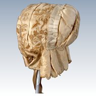 Embroidered Silk 1850's Child's Bonnet (Historical  Society De-aquisition)