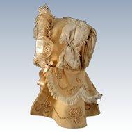 Antique 1870's Child's  Finely Elaborate Gabardine  Bonnet