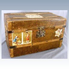 Antique French 2 Drawer Doll Trunk