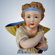 """17"""" Bisque Boy Carrying Basket French"""