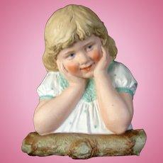 "9"" Tall Gebruder Heubach "" Little Girl Leaning on a Log"""