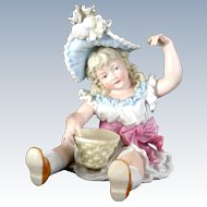 Awesome Little Bisque Girl Holding a Basket