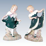 "Pair of Gebruder Heubach Rare Color ""Dancing Girls"""