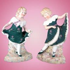 "Pair of Gebruder Heubach Rare Color ""Dancing Girls"""