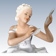 "6"" Art Deco Schaubach Kunst ""Ballerina Putting on Her Makeup"""