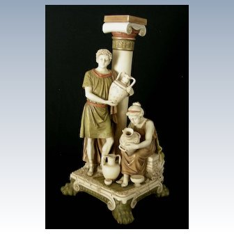"Royal Dux ""Roman Man and Woman Painting Pottery"""