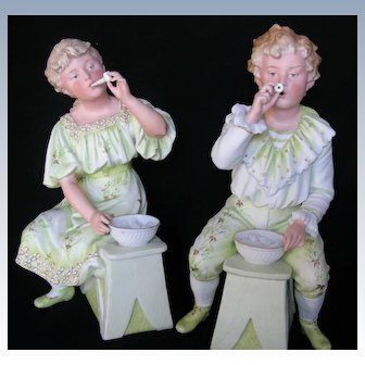 "Gebruder Heubach ""Bubble Blowing Child Pair"""