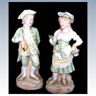 "Gebruder Heubach "" The Violinist and Book Reader"" pair"