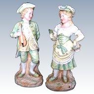 "Gebruder Heubach "" The Violinist and Book Reader"" pair"