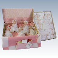 Effanbee Patsy Babyetts as (Dionne) Qunituplets 1938in Original Trunk with Layette