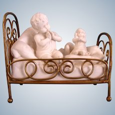 French Brass Bed with  Porcelain Girl and Dolly